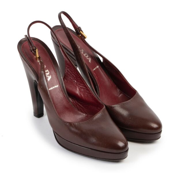 Prada Burgundy Slingback Heels - Size 37,5