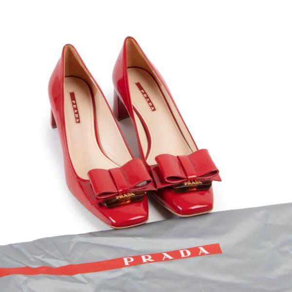 Prada Red Patent Bow Heels - Size 39