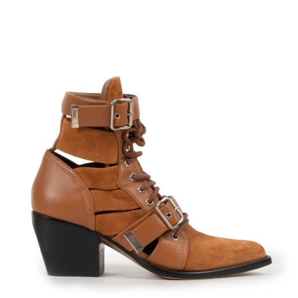 Chloé Rylee Cutout Camel Ankle Boots - Size 39