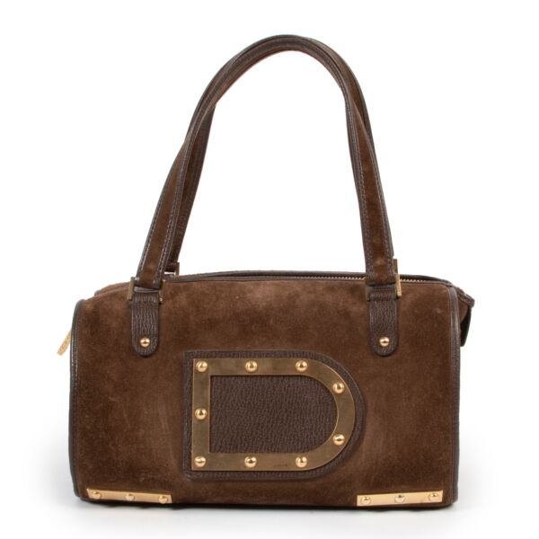 Delvaux Astrid Marron Suede Top-handle original model with D signature in good condition on Labellov vintage site now for sale