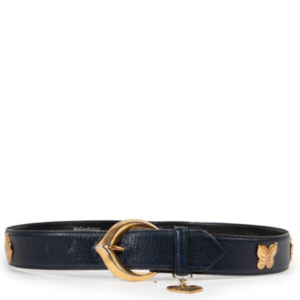 Saint Laurent Blue Black Belt - Size 85