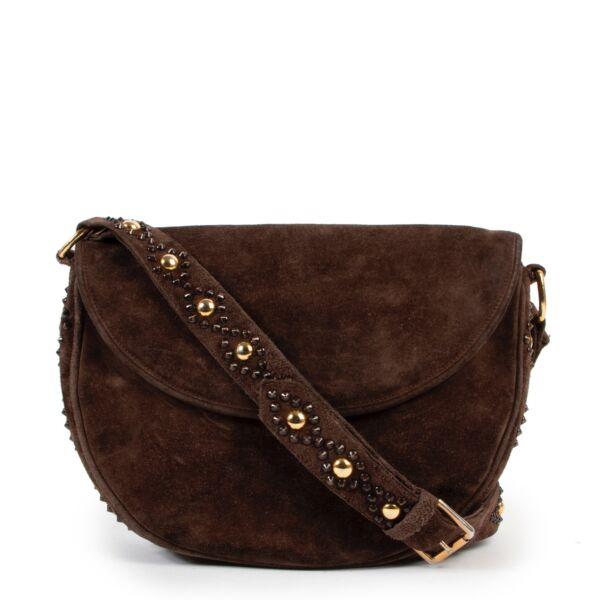 Preloved old school vintage Saint Laurent Brown Suede Crossbody designer bag on Labellov 2nd hand site for sale