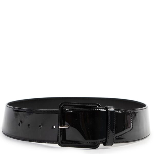 Miu Miu Black Patent Leather Belt - Size 90