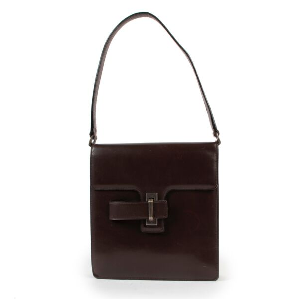 Delvaux Brown Leather Top Handlefor sale on Labellov 2nd hand designer site for vintage bags
