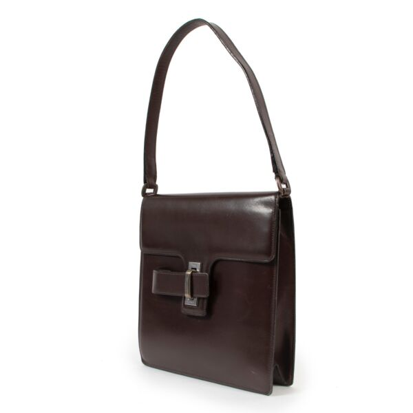 Delvaux Brown Leather Top Handle Bag