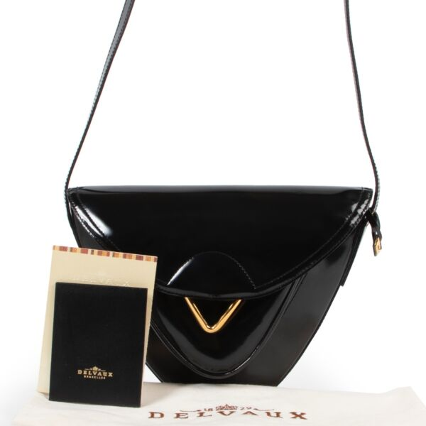 Delvaux Black Patent Leather Roméo Crossbody Bag