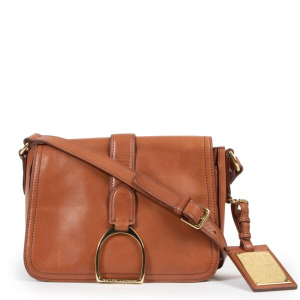 Ralph Lauren Cognac Lambskin Leather Crossbody in very good condition on Labellov vintage website for 2nd hand designers