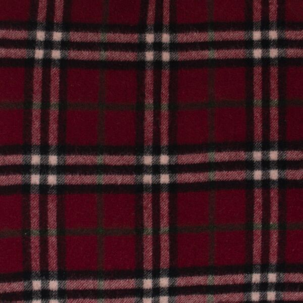 Burberry Burgundy Checked Lambswool Scarf