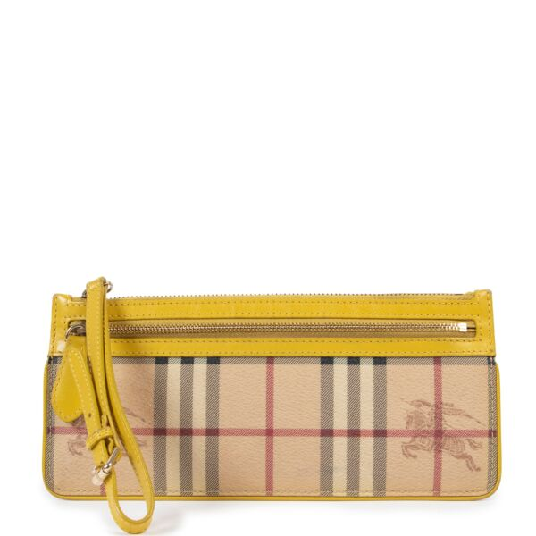 Burberry Nova Check Yellow Clutch Bag