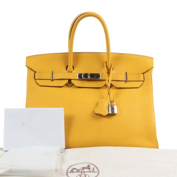Hermès Birkin 35cm Jaune Soleil Clemence Taurillon Leather PHW