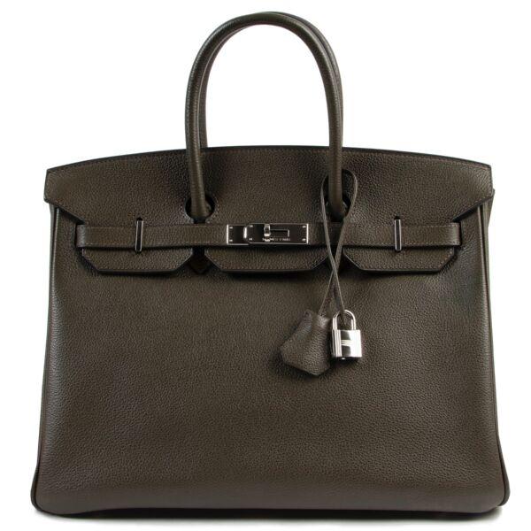 skip the waiting list shop safe online secondhand luxury Birkin 35 Vert de Bronze