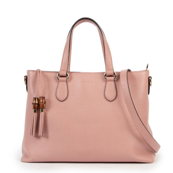 Gucci Convertible Bamboo Tassel Large Dusty Pink Tote Bag