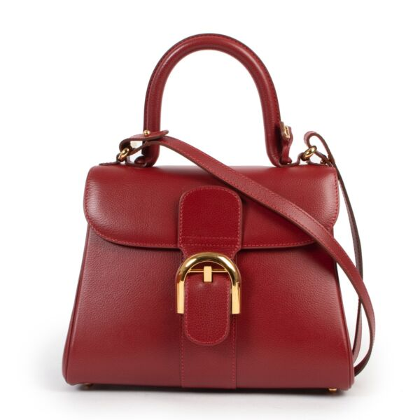 Shop safe online 100% authentic second hand Delvaux Red Jumping PM Brillant in very good condition at Labellov in Antwerp.