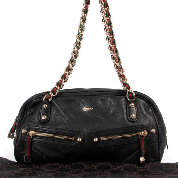 Gucci Black Capri Web Shoulder Bag