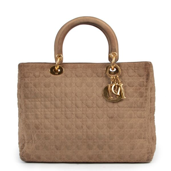Christian Dior Beige Lady Dior now available in a preloved vintage condition. Buy and sell your designer items