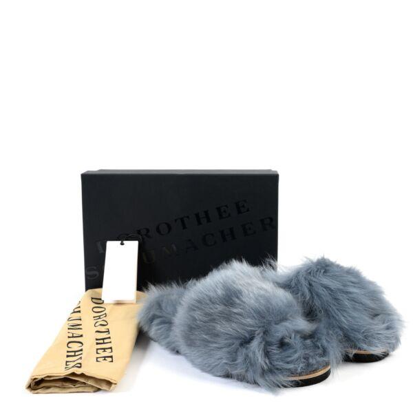 Dorothee Schumacher Blue Furry Slides - Size 39