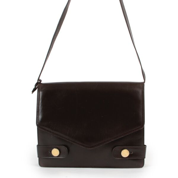 Shop safe online 100% authentic second hand Delvaux Dark Brown Shoulder Bag in very good condition at Labellov in Antwerp.