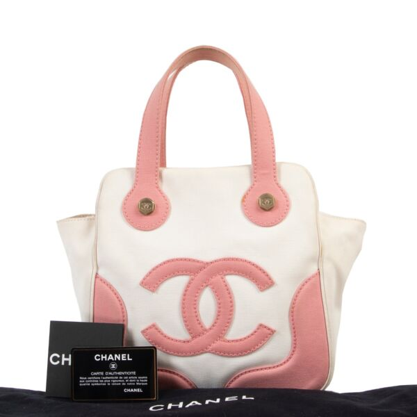 Chanel White and Pink Marshmallow Top Handle