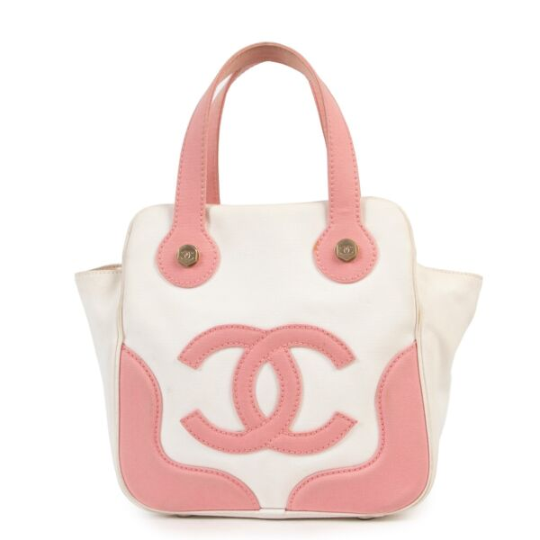 Shop safe online 100% authentic second hand Chanel White and Pink Marshmallow Top Handle in very good condition at right price at Labellov in Antwerp.