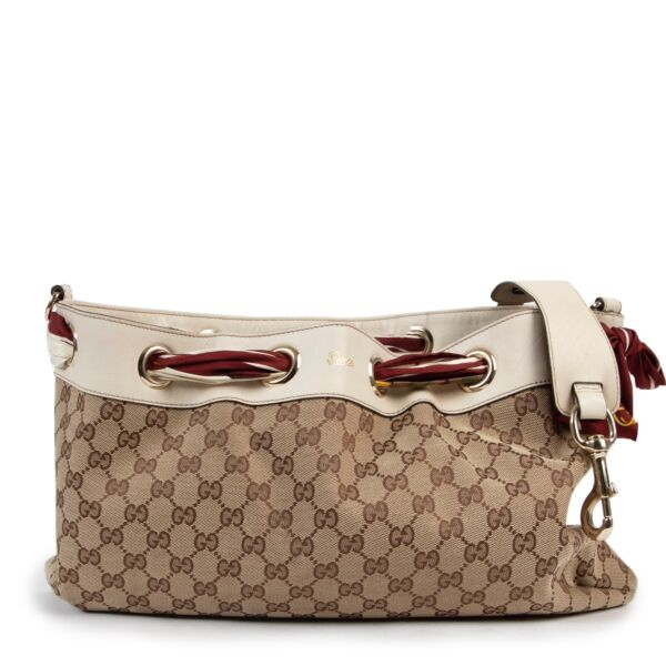 Gucci Monogram Silk Scarf Positano Shoulder Bag