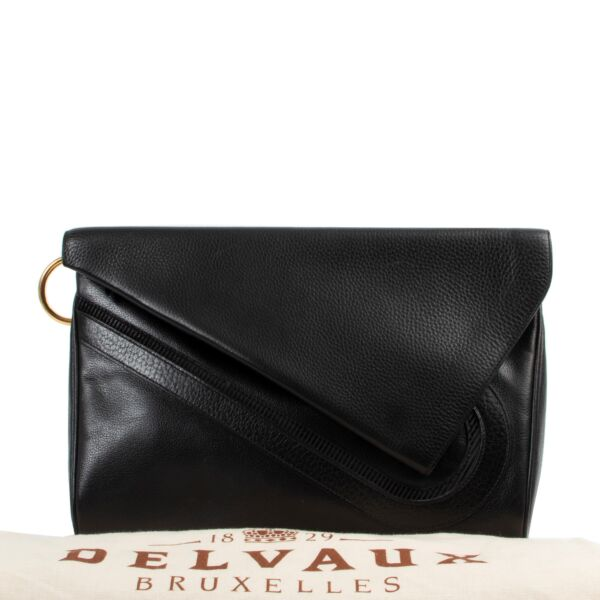 Delvaux Black Leather Clutch