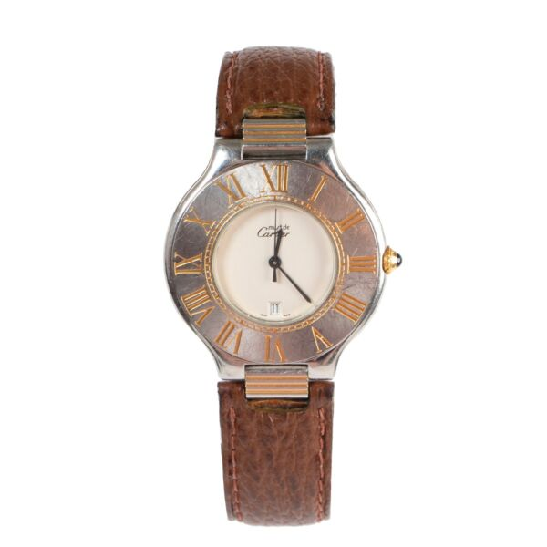 Shop safe online 100% authentic second hand Must De Cartier Brown Must 21 Watch in good preloved condition at the right price at Labellov in Antwerp.