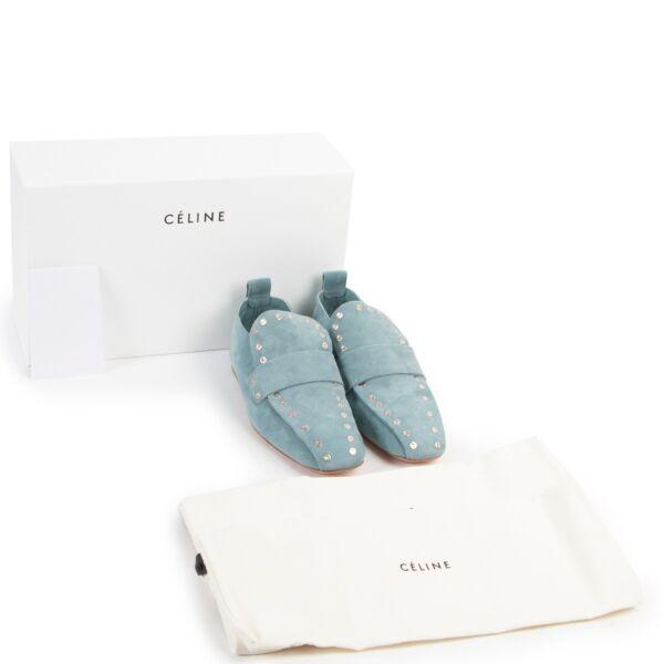 Celine Light Blue Nubuck Flats - Size 37,5