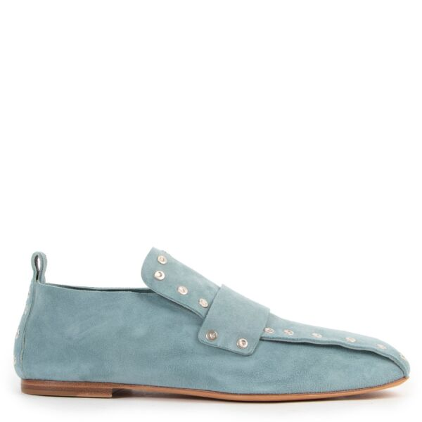 Shop safe online 100% authentic second hand Celine Light Blue Nubuck Flats - Size 37,5 in very good condition as new at the right price at Labellov in Antwerp.