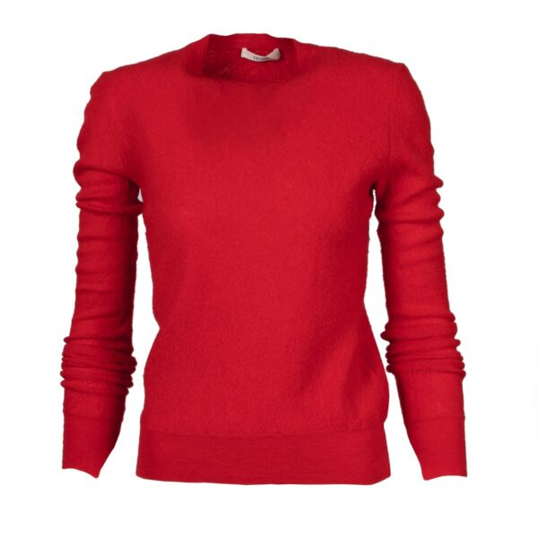Shop safe online at Labellov in Antwerp this 100% authentic Céline Red Wool Sweater - Size M