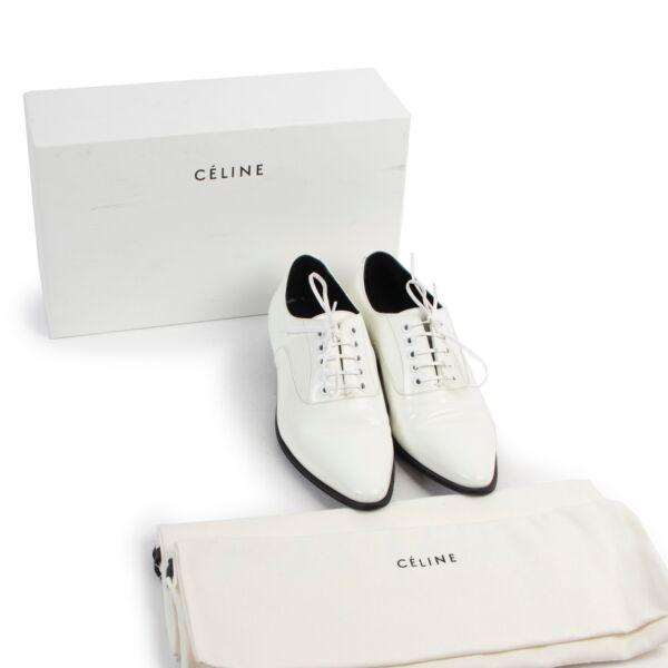 Celine White Lace-up Flats - Size 38