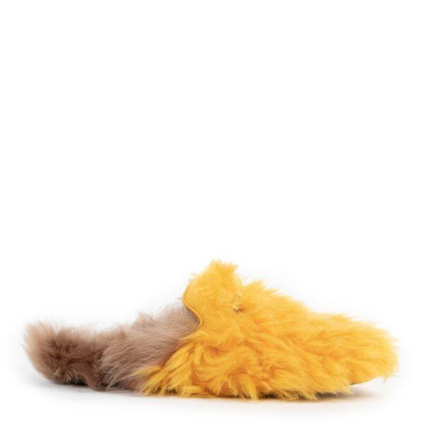 Gucci Yellow Princetown Merino Wool Flats - size 38