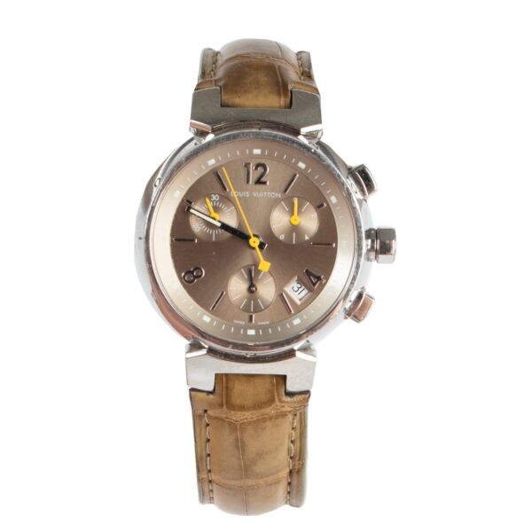 Shop safe online 100% authentic second hand Louis Vuitton Olive Green Leather Tambour Watch in very good, excellent condition at the right price at Labellov in Antwerp.