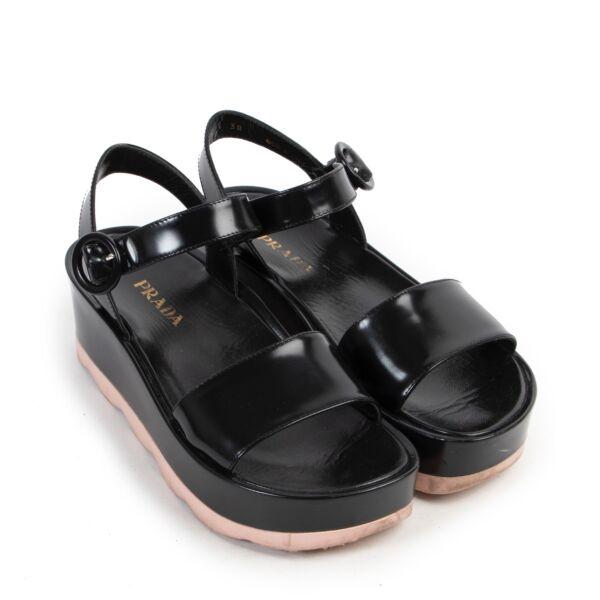 Prada Black Pink Platform Sandals - Size 38
