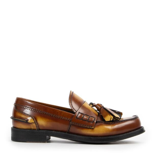Shop safe online at Labellov in Antwerp 100% authentic second hand in very good condition Prada Brown Tassel Loafers - Size 38