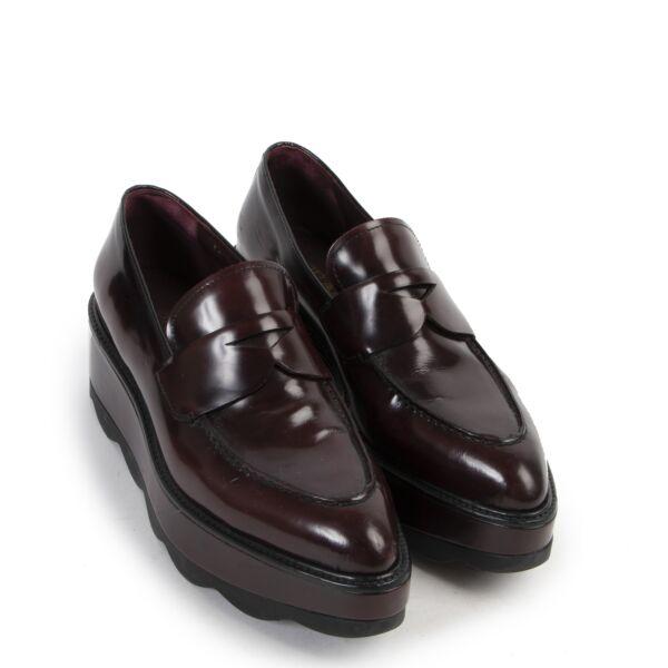 Prada Burgundy Flatform Flats - Size 38