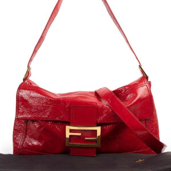 Fendi Red Patent Leather Large Baguette Shoulder Bag