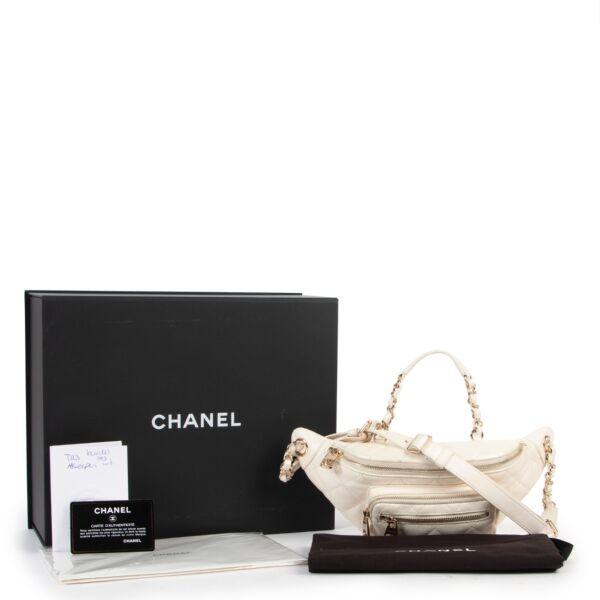 Chanel White Iridescent Calfskin Quilted All About Waist Belt Bag