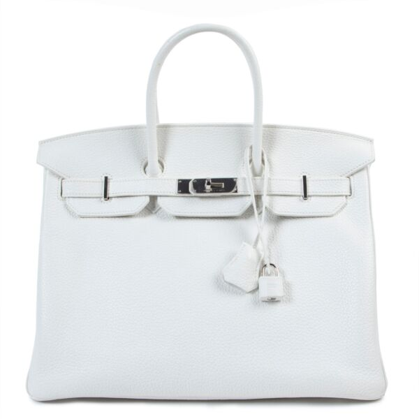 Hermès Birkin 35 White Taurillon Clemence PHW for the best price at Labellov secondhand luxury in Antwerp
