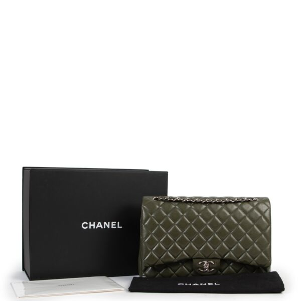 Chanel Khaki Caviar Quilted Leather Maxi Classic Flap Bag