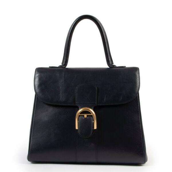 Shop safe online Delvaux Brilliant navy blue, Delvaux Brilliant in good condition, Delvaux top handle bag in good condition.