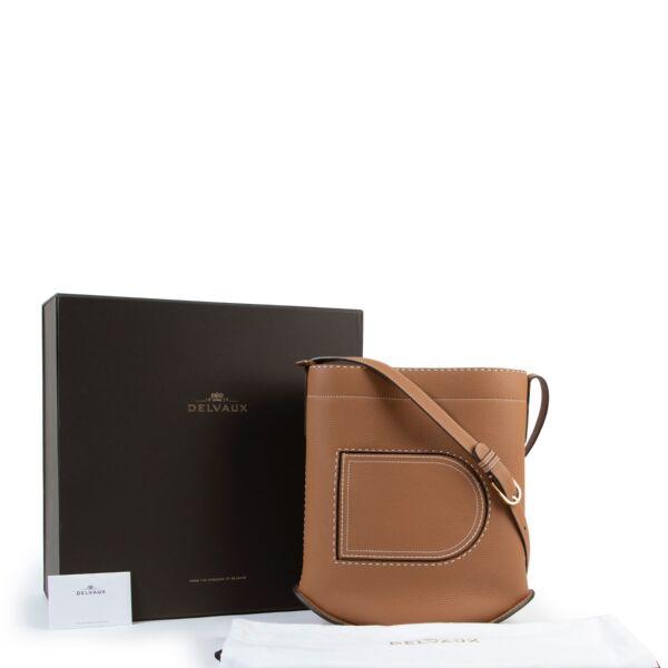 Delvaux Cognac Pin Surpiqué GM Shoulder Bag