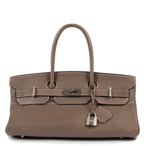 Buy an authentic second hand Hermès JPG Birkin Shoulder bag 40 Taurillon Clemence Etoupe PHW at Labellov