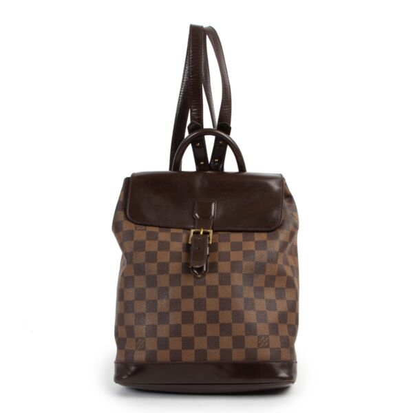 Shop safe online 100% authentic second hand Louis Vuitton Damier Ebene Canvas Soho Backpack at Labellov in Antwerp.