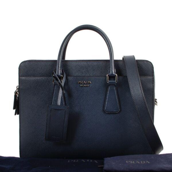 Prada Blue Saffiano Leather Top Handle Case
