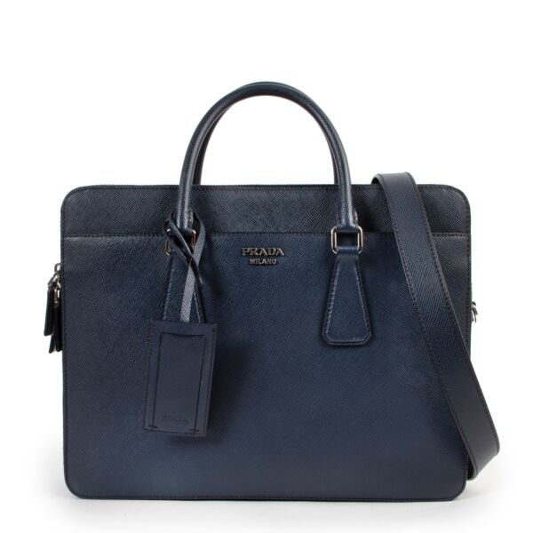 Shop safe online 100% authentic second hand Prada Blue Saffiano Leather Top Handle Case at labellov in Antwerp.
