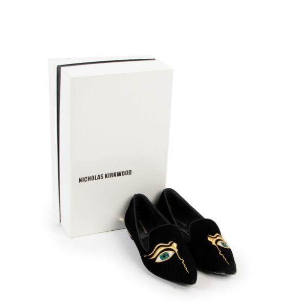 Nicholas Kirkwood Black Velvet Flats - size 36.5