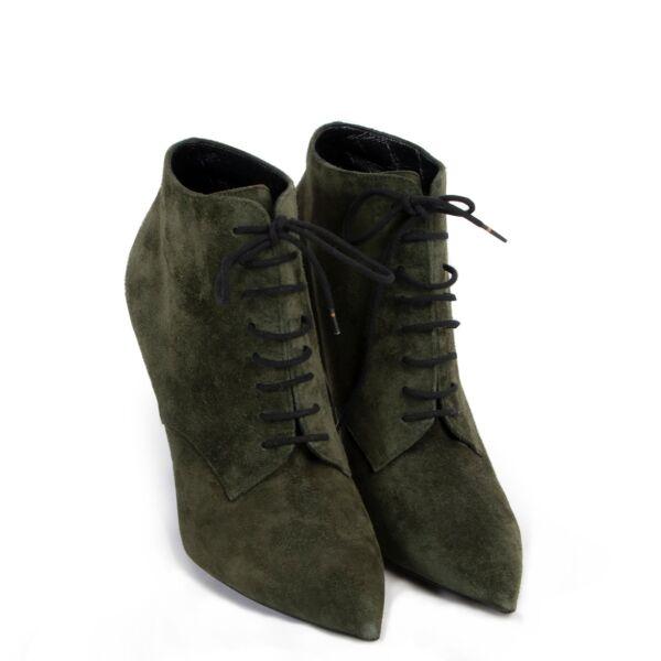 Saint Laurent Green Ankle Boots - Size 37,5