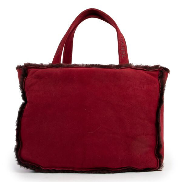 Chanel Red Suede Shearling Fur Tote Bag