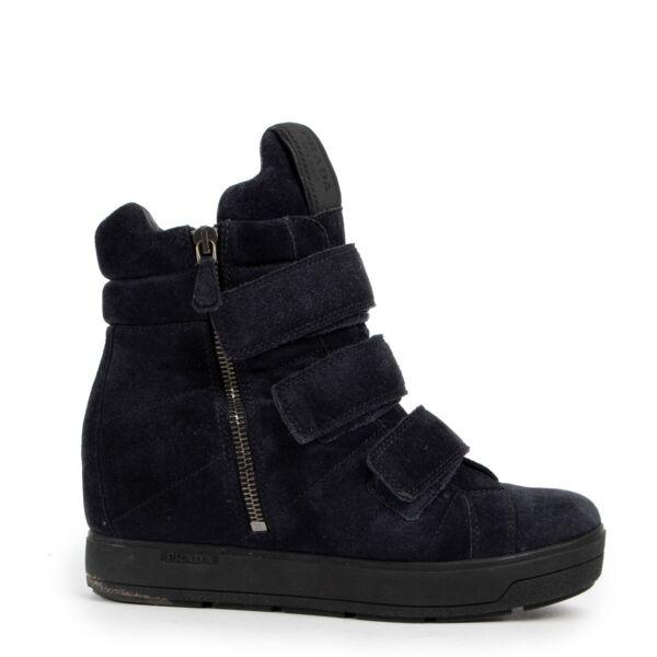 Prada Blue Suede Wedge Sneakers - size 36