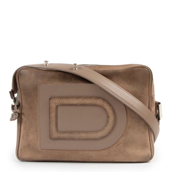 Delvaux Louise Taupe Nubuck Crossbody Bag